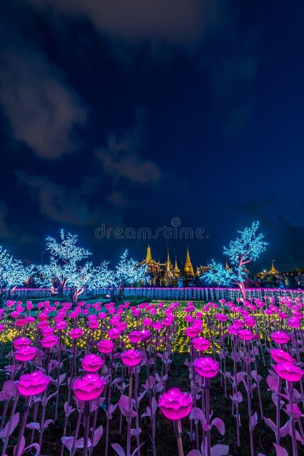 Украшения света СИД в Бангкоке для того чтобы отпраздновать коронование короля Rama x стоковая фотография