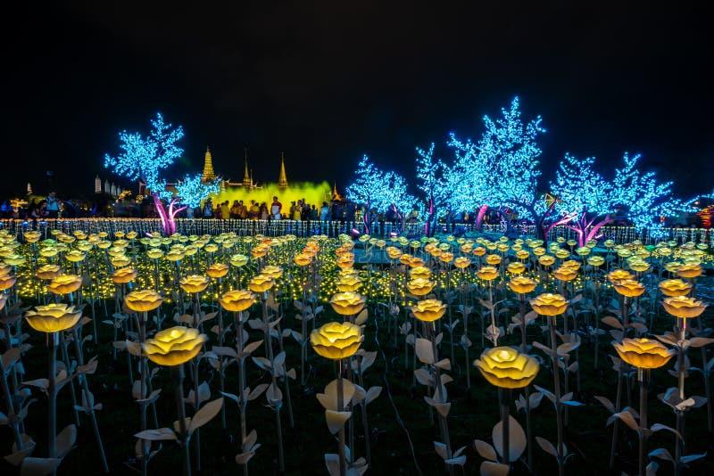 Украшения света СИД в Бангкоке для того чтобы отпраздновать коронование короля Rama x стоковое изображение