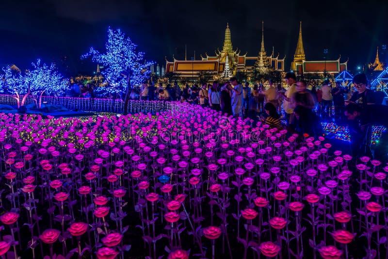Украшения света СИД в Бангкоке для того чтобы отпраздновать коронование короля Rama x стоковое фото
