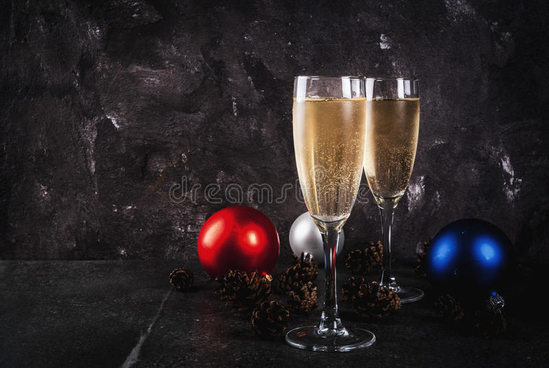 Украшения Шампани и рождества стоковая фотография