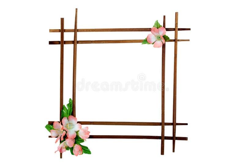 украшенная декоративная рамка цветков деревянная стоковая фотография rf