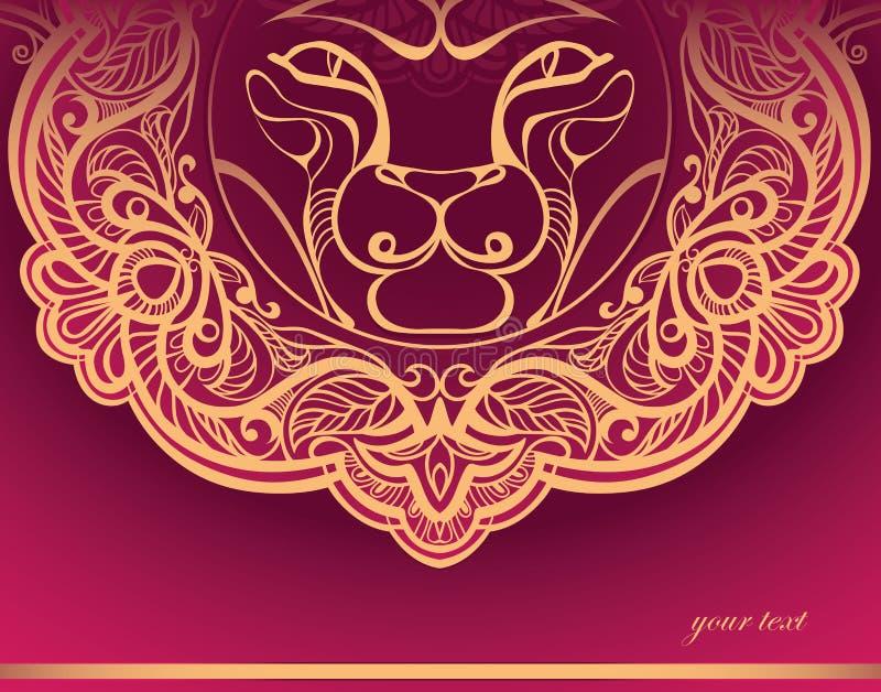украшенная золотистая грива льва иллюстрация вектора