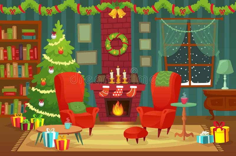 Украшенная комната рождества Внутренние художественные оформления зимнего отдыха, кресло около камина и дерево xmas vector предпо иллюстрация штока