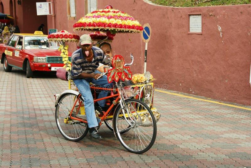 Украшенная рикша trishaw или трицикла в исторических Малакке или Melaka, Малайзии стоковые изображения rf