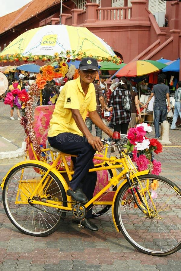 Украшенная рикша trishaw или трицикла в исторических Малакке или Melaka, Малайзии стоковая фотография rf