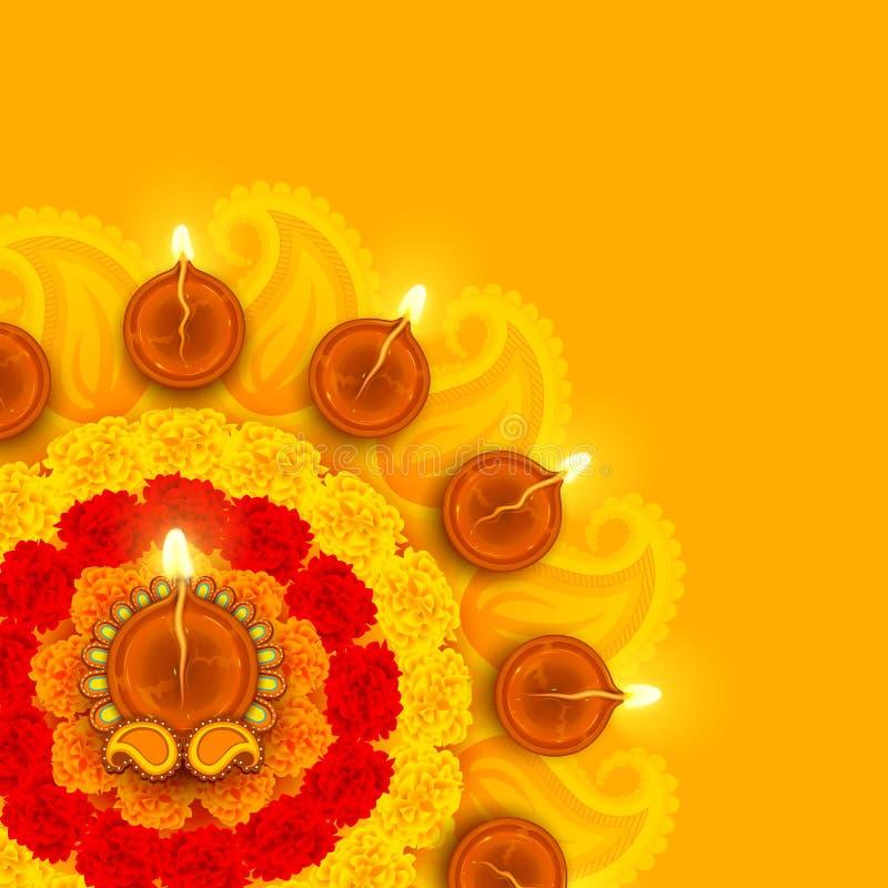Украшенное Diwali Diya на цветке Rangoli иллюстрация вектора