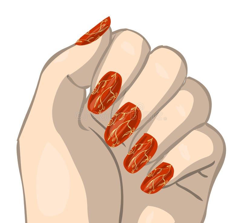 украшенные ногти красные иллюстрация вектора