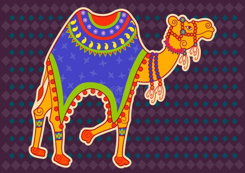 Украшенный верблюд в индийском стиле искусства бесплатная иллюстрация