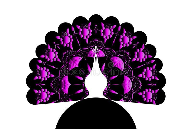 Украшенный кабель силуэта значка павлина Стиль шаблона вектора дизайна логотипа линейный Ярлык павлина птицы плана с luxuriou иллюстрация вектора