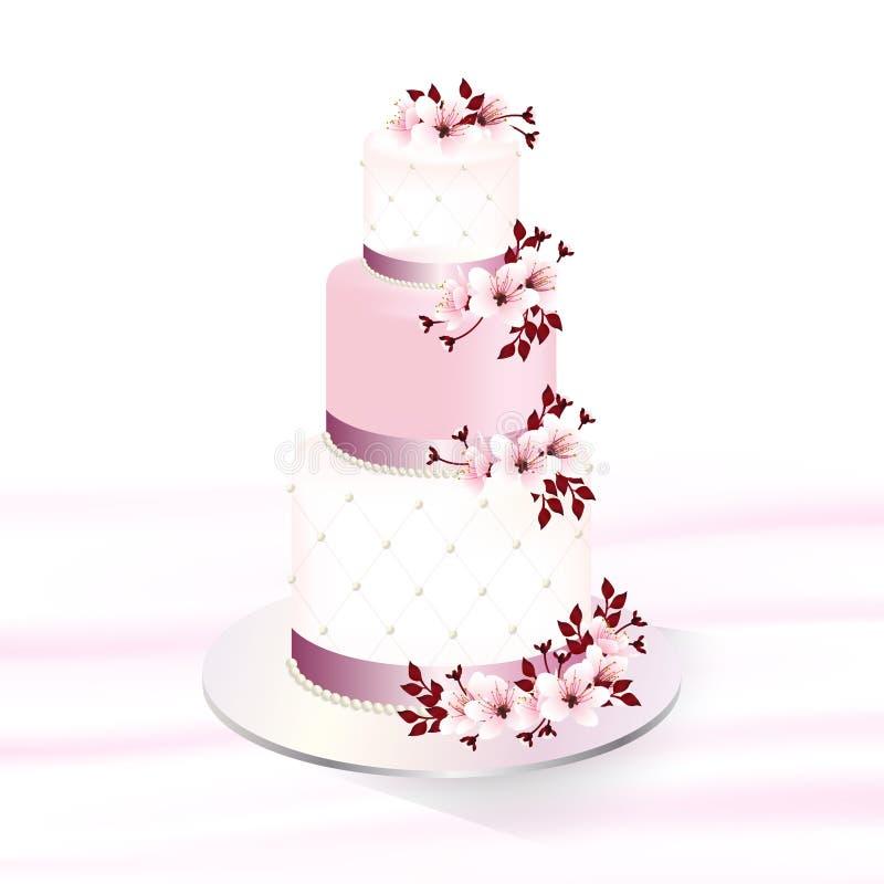 Украшенный свадебный пирог с вишневыми цветами иллюстрация штока