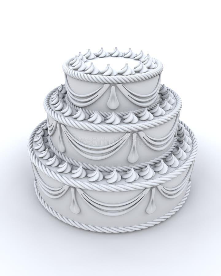 украшенный торт 3d представляет иллюстрация штока