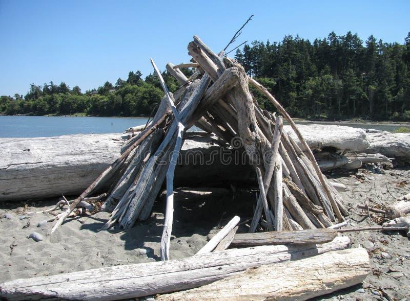 Укрытие ветра Driftwood на пляже вертела Dungeness стоковое изображение rf