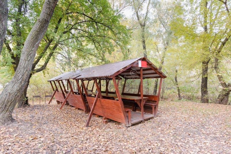 Укрытие пикника в древесинах стоковые изображения