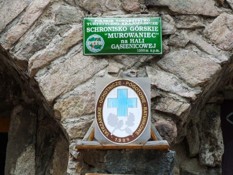 Укрытие Murowaniec горы в польском Tatras стоковое изображение