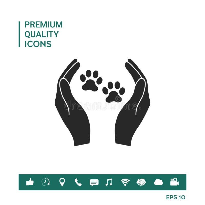 Укрытие pets значок знака Руки держат символ лапки Охрана животных стоковые изображения
