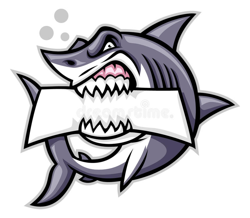 Укус акулы пустой знак иллюстрация вектора