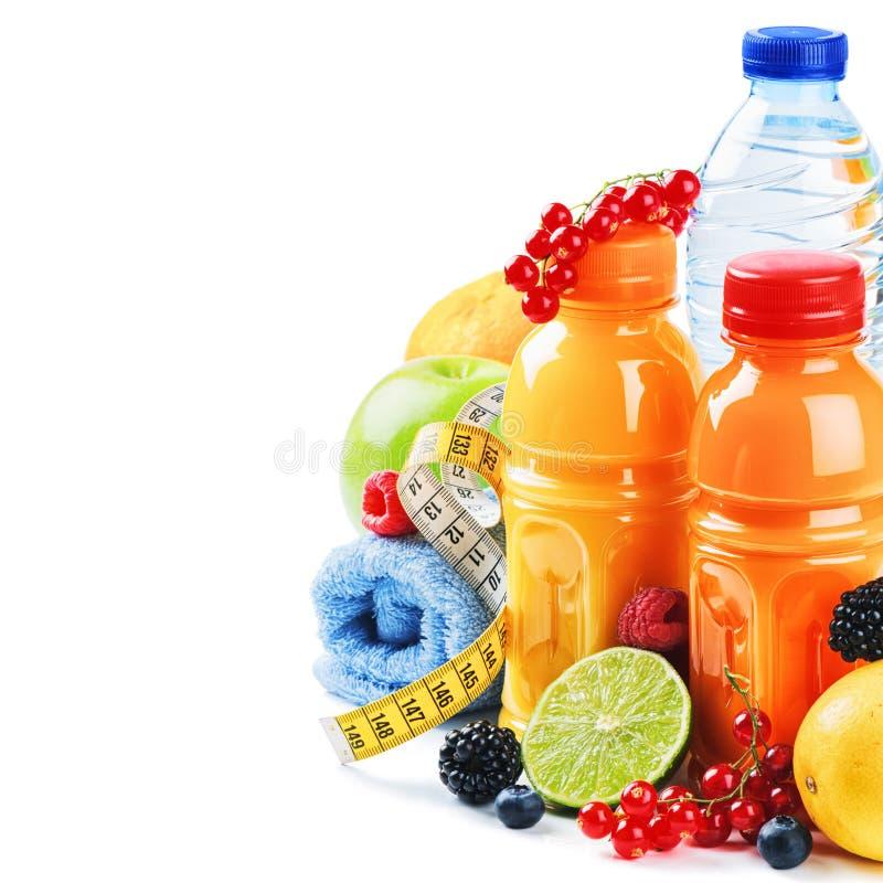 уклад жизни принципиальной схемы здоровый Свежие фрукты и соки стоковое фото