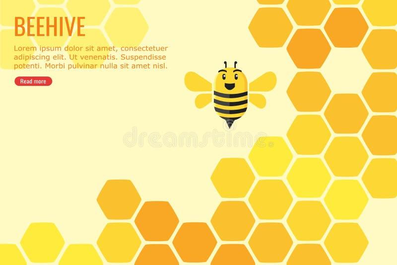 Улей заполненный с дизайном Информаци-графика меда и пчелы иллюстрация штока