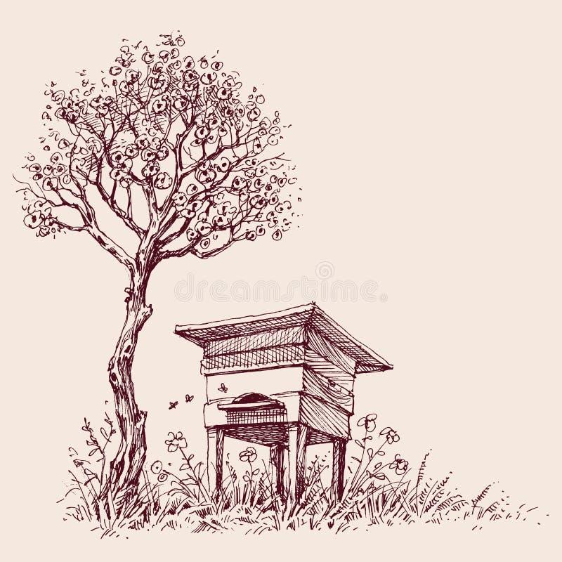Улей под деревом в цветени бесплатная иллюстрация