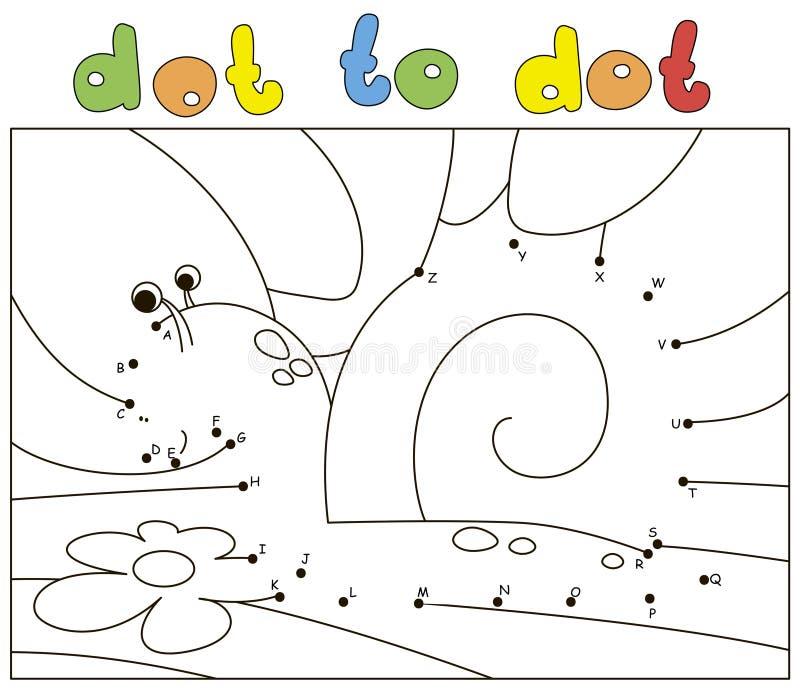 Улитка и цветок мультфильма на траве Книжка-раскраска и точка для того чтобы поставить точки игра для детей иллюстрация вектора