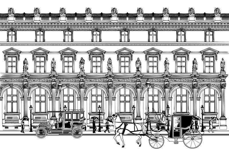 Улица в Париже с экипажом лошади и старым автомобилем иллюстрация штока