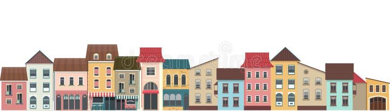 Улица города горизонтальная иллюстрация вектора