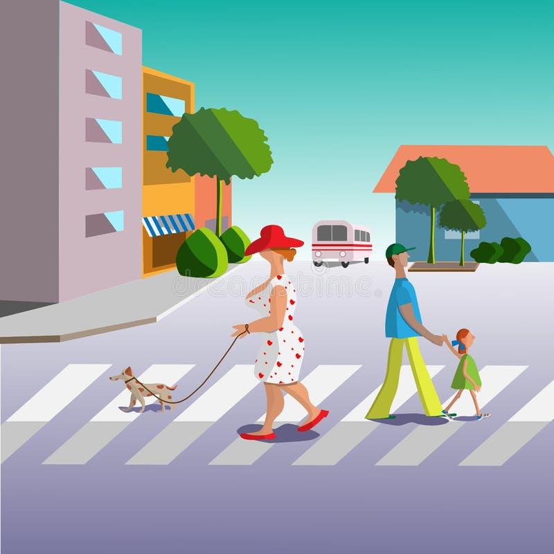 Улица города, лето, полдень иллюстрация штока