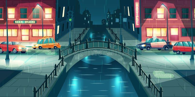 Улица города ночи в дождливом векторе погоды бесплатная иллюстрация