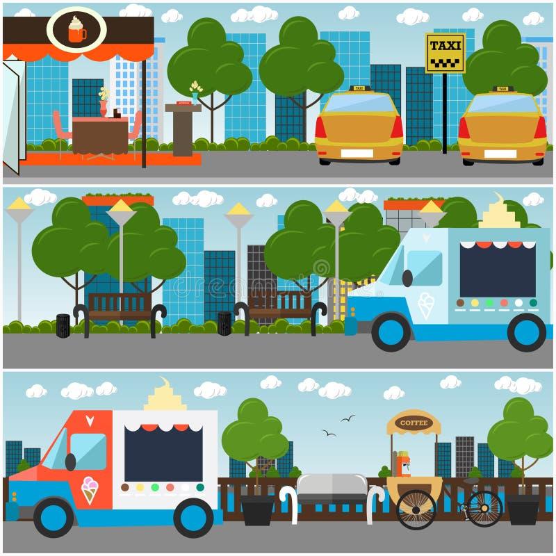 Улица города, парк, иллюстрация внутреннего вектора обваловки плоская иллюстрация штока