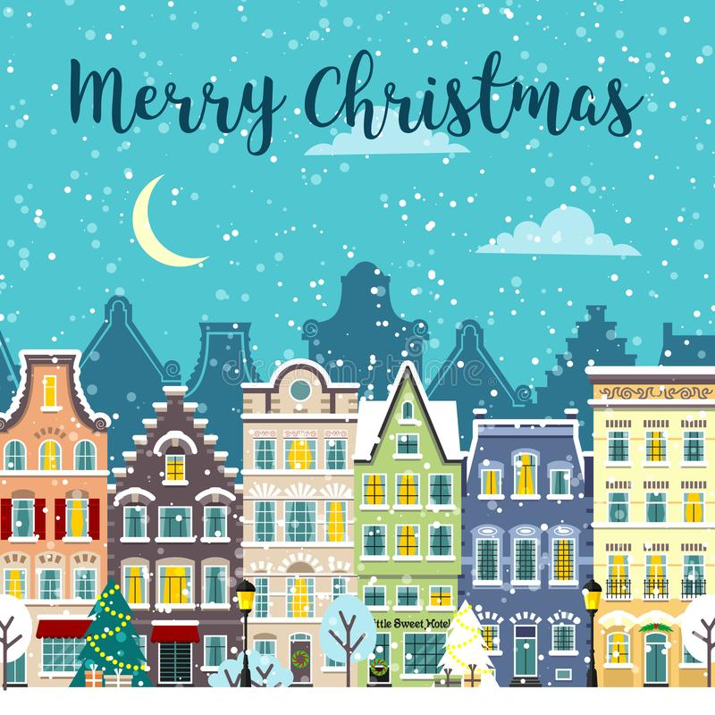 Улица города рождества Ландшафт вектора зимы бесплатная иллюстрация
