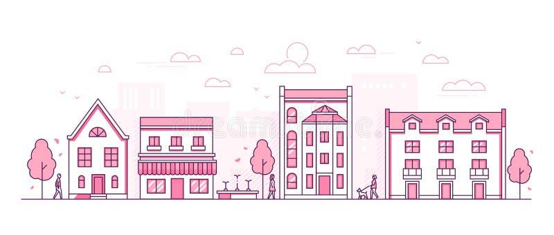 Улица города - современная тонкая линия иллюстрация вектора стиля дизайна бесплатная иллюстрация