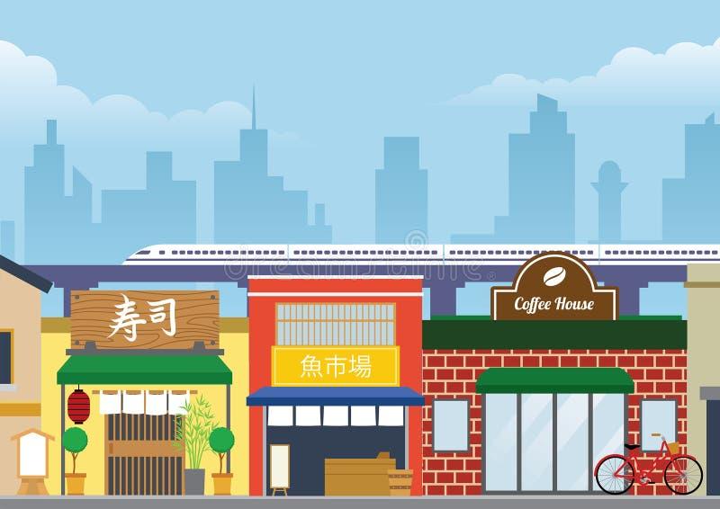 Улица города Японии в плоском стиле иллюстрация вектора