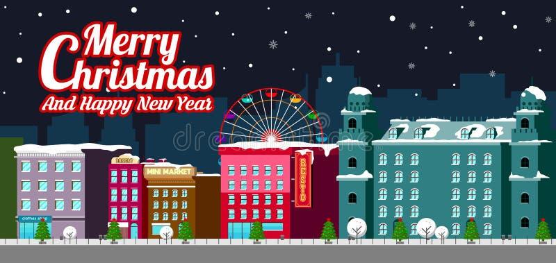 Улица зимы домов здания города с украшенным концепции Нового Года веселого рождества сосны знаменем счастливой плоским горизонтал иллюстрация штока