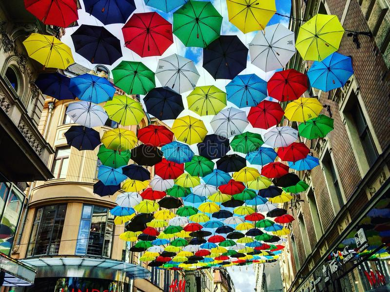 Улица зонтика стоковые изображения rf
