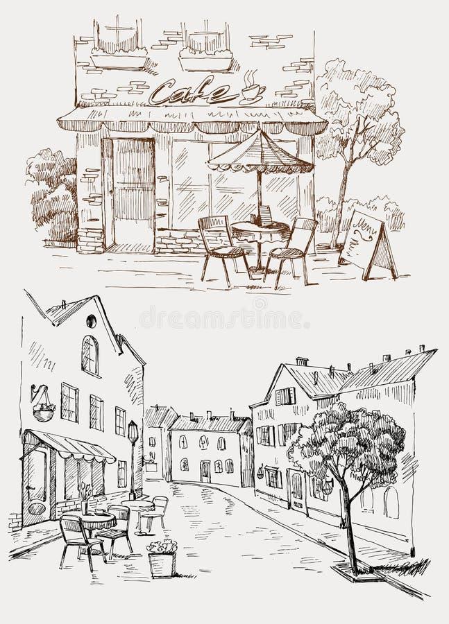 улица кафа иллюстрация вектора