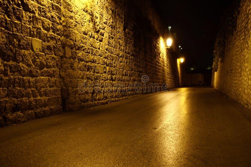 улица ночи Иерусалима стоковые фотографии rf