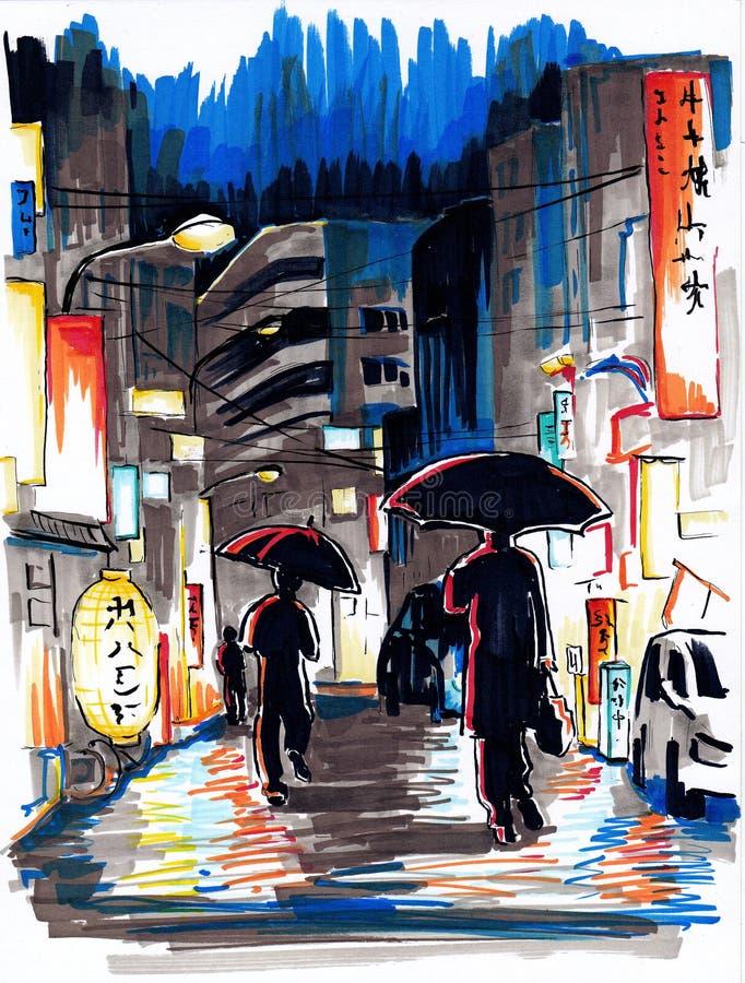 Улица ночи Японии иллюстрация штока
