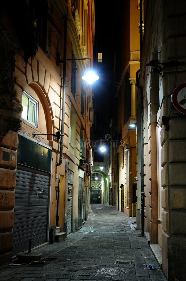 улица ночи genova стоковое изображение rf
