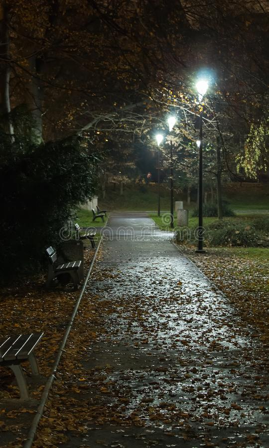 Улица парка города со стендом и светами вечером стоковые изображения