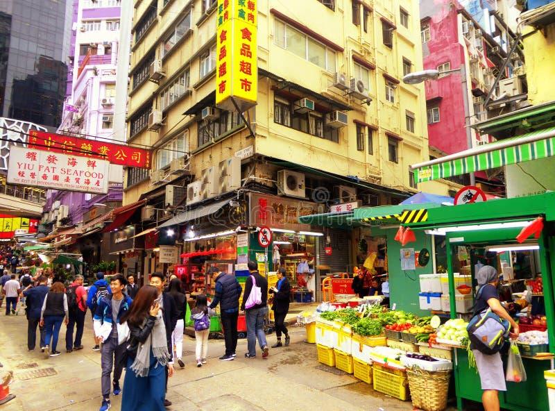 Улица продовольственного рынка Гонконга стоковые изображения rf