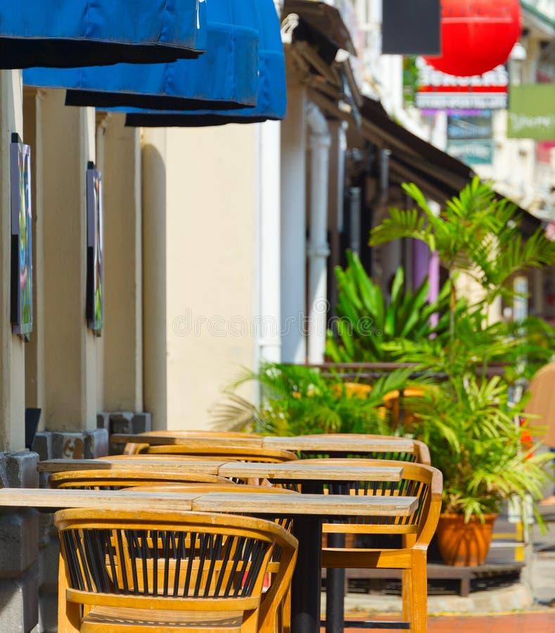 Улица ресторана набережной шлюпки Сингапур стоковые фотографии rf