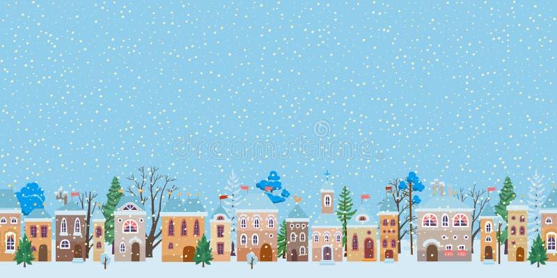 Улица рождества Snowy Панорама города зимы бесплатная иллюстрация