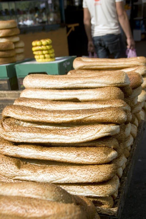 улица рынка Иерусалима хлеба bageleh стоковое фото