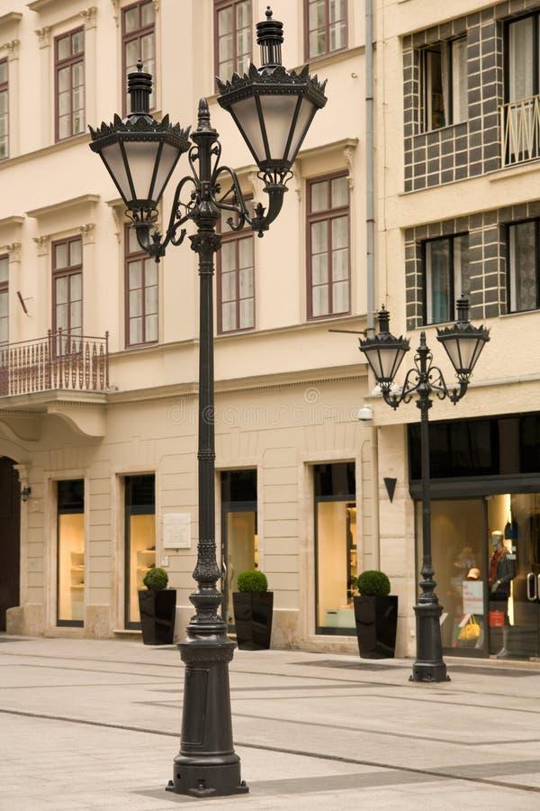 улица светильников budapest городская стоковая фотография