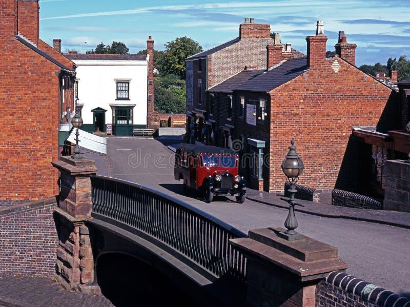 Улица села, черный музей страны, Великобритания. стоковая фотография rf