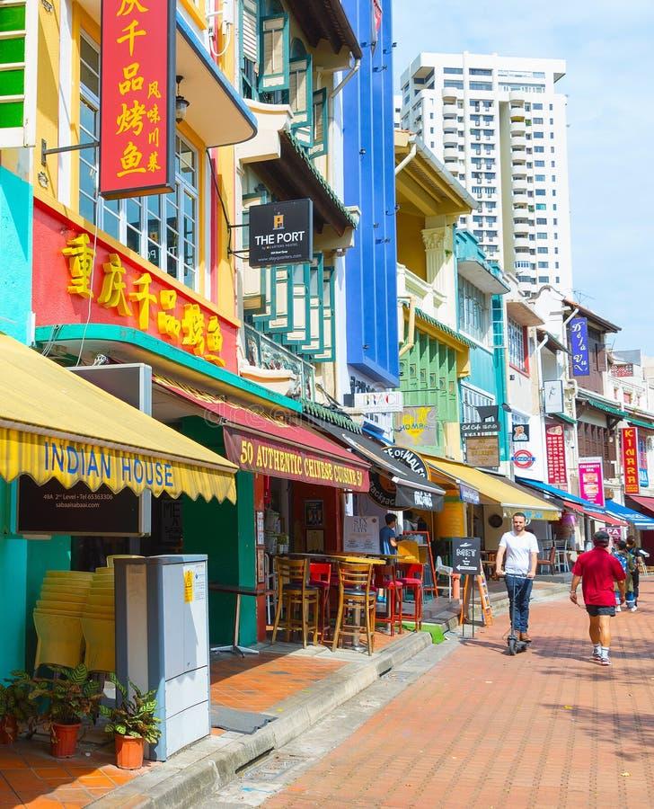 Улица Сингапур ресторанов набережной шлюпки стоковые изображения