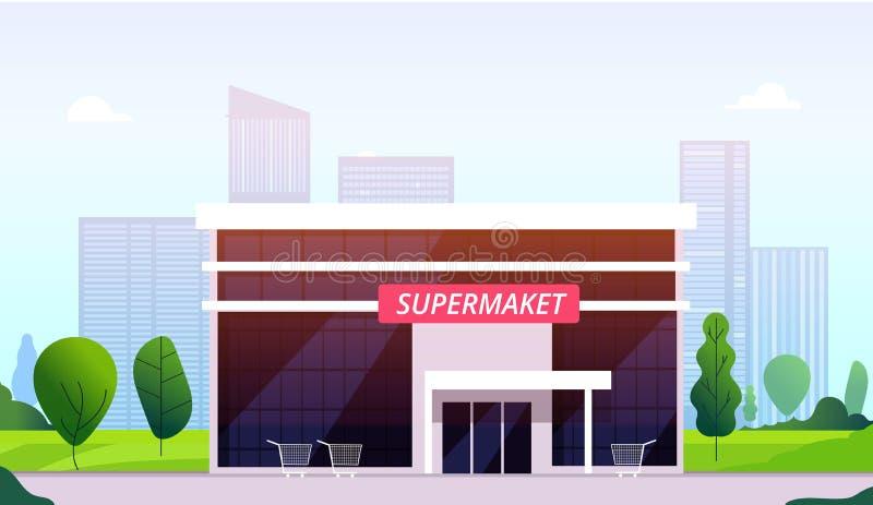 Улица супермаркета Экстерьер супермаркета розницы магазина конструкции магазина делового центра фронта здания гипермаркета городс иллюстрация штока