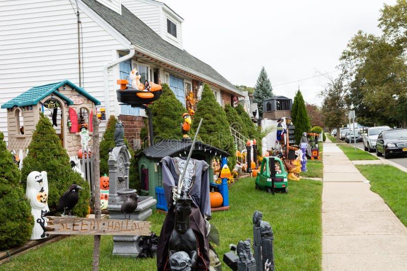 Улица хеллоуин в NY стоковые изображения