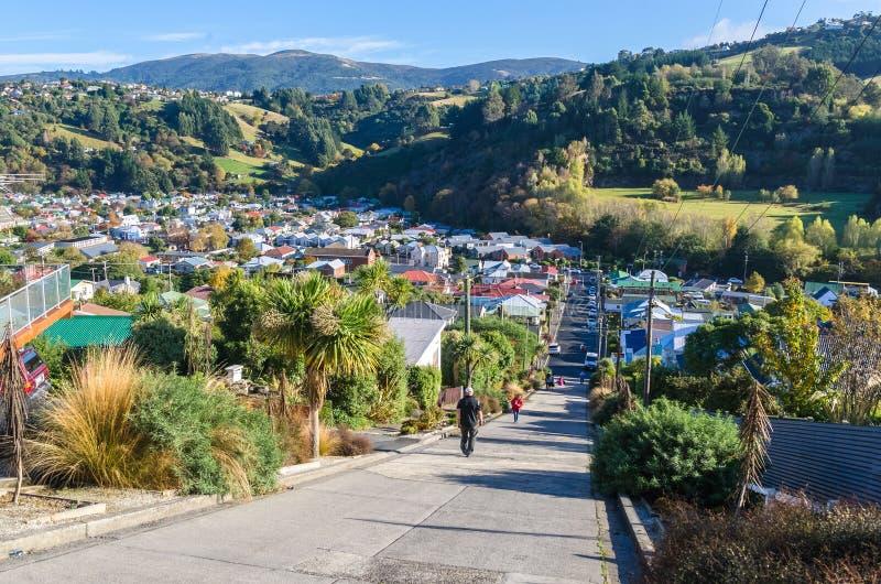 Улица Baldwin которая расположена в Данидине, Новой Зеландии стоковая фотография