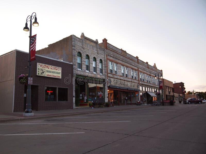 Улица Grinnell Айовы городская широкая стоковое изображение